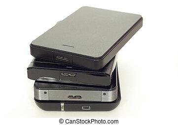 Pile of external USB hard drives