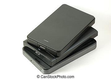 Pile of external USD hard drive - Three USB 3 external hard ...