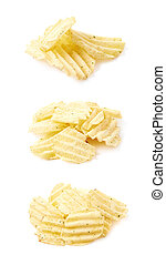 Pile of few potato chips