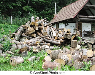 Pile of firewood near a wooden house