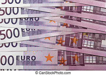Pile of five hundred euro banknotes