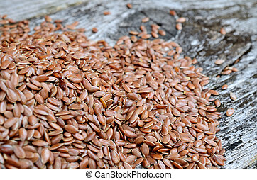 pile of flax seed on table