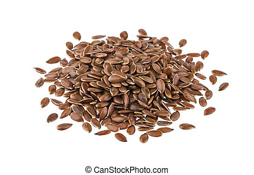 Pile of flax seeds isolated on white background