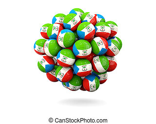 Pile of footballs with flag of equatorial guinea