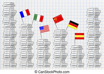 pile of foreign languages books with country flags above ...