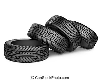 Pile of four new black wheel tyres for car