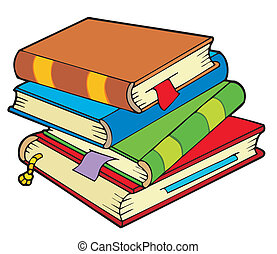Pile of four old books - vector illustration.