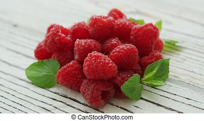 Pile of fresh bright raspberries