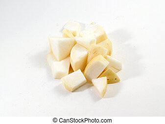 Pile of fresh cubed white turnip