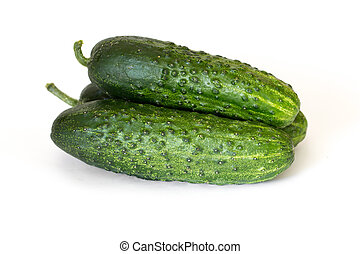 Pile of fresh cucumbers isolated on white background