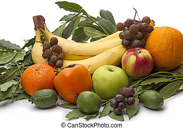 Pile of fresh fruit on white