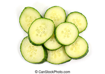 Pile of fresh organic cucumber slices