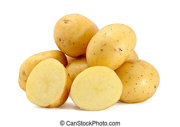 Pile of fresh potatoes isolated on white background