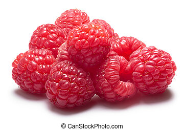 Pile of fresh raspberries, clipping path