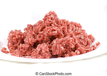 beef mince - pile of fresh raw beef mince in white plate