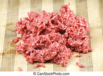 beef mince - pile of fresh raw beef mince over wooden ...