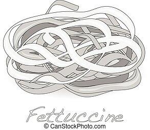 Pile of fresh raw fettuccine ribbon pasta isolated