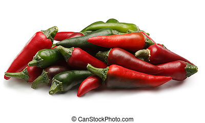 Pile of fresh red and green chili peppers, paths