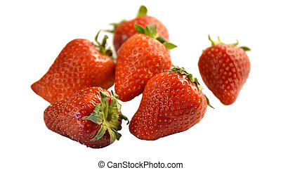 Pile of fresh strawberries isolated on white background