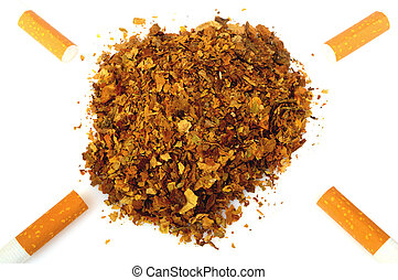 Pile of fresh tobacco and cigarettes isolated on white background