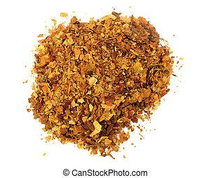Pile of fresh tobacco isolated on white background