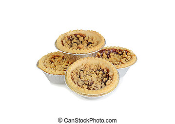 pile of fruit tarts with crumble topping
