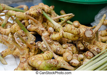 Pile of galangal root for sale in local market in thailand