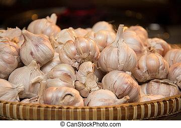 Pile of Garlic at a market