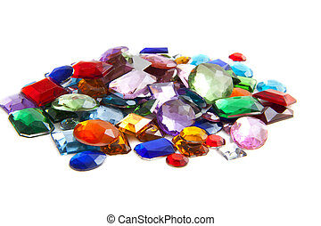 Pile of gems - Colorful gem stones isolated on a white...
