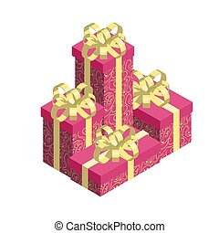 Pile of gift boxes isolated on white background.