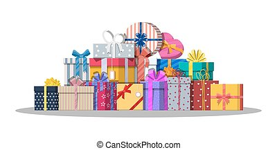 Pile of gift boxes isolated on white.