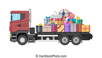 Pile of gift boxes on truck.