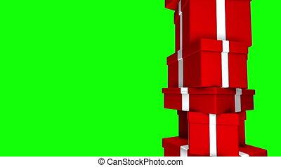 Pile of Gifts Red Loop Green Screen