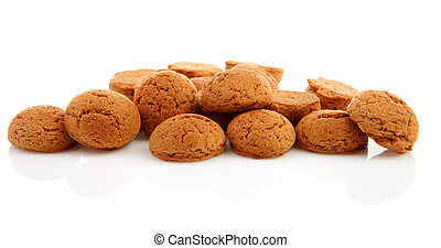 pile of ginger nuts, pepernoten isolated on white background