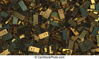 Pile of gold bullions, top down view - Pile of gold...