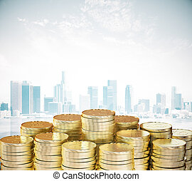 Pile of gold coins at city background