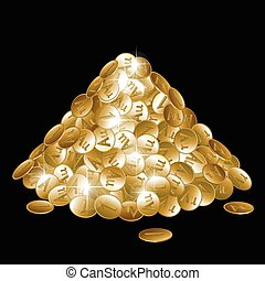 Pile of gold coins isolated on black background