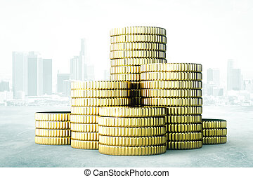 Pile of gold coins, the accumulation of money concept