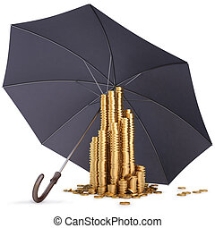 umbrella - pile of gold coins under the umbrella. isolated...