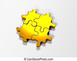 pile of gold puzzle elements, 3d render