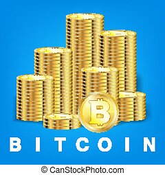 pile of golden bitcoin coin cryptocurrency vector