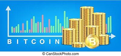 pile of golden bitcoin coins vector