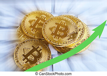 Pile of golden bitcoins with rising arrow. Decentralized virtual cypto currency growth