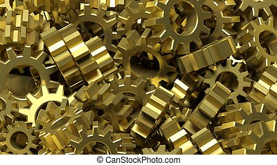 Pile of golden cogwheels abstract conceptual background