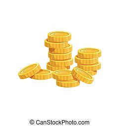Pile Of Golden Coins, Hidden Treasure And Riches For Reward In Flash Came Design Variation