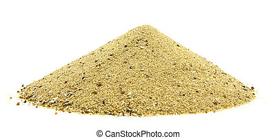 Pile of Golden sand isolated on white