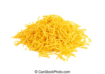 Pile of Grated Cheddar Cheese on a White Background