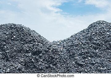 Pile of gravel gray stone prepare for mix concrete in construction.