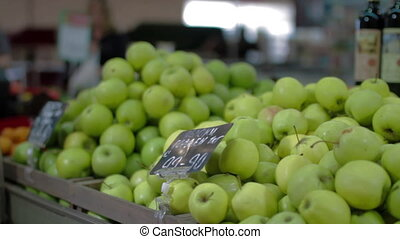 Apples Pile in supermarket marketplace