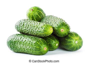 Pile of green cucumbers